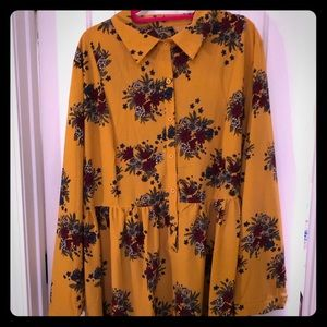 Dresses & Skirts - Mustard and Floral Print Skater Collar Dress
